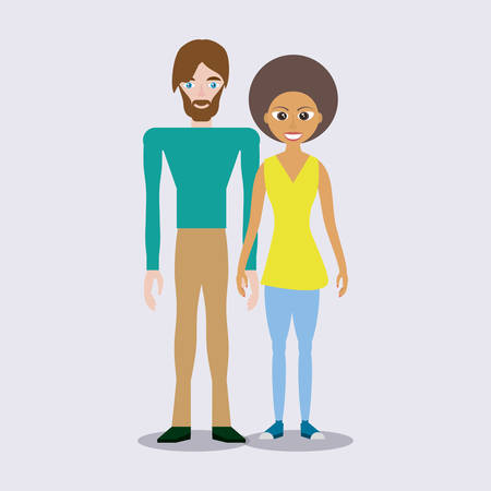 mixed race couple happy vector illustration eps 10
