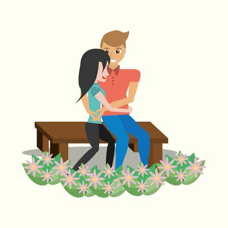 couple sitting lovely embracing garden vector illustration eps 10