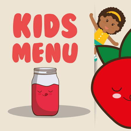 freshly: kids menu girl juice strawberry nutrition poster vector illustration eps 10 Illustration