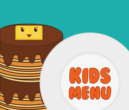 homemade bread: kids menu tasty pancake breakfast vector illustration eps 10