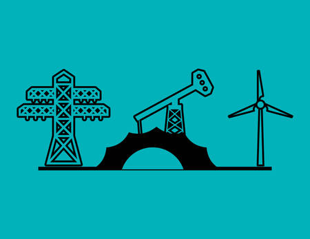 wind mills: electric tower oil pump and turbine wings vector illustration eps 10