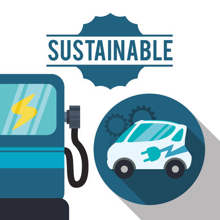 oil and gas industry: sustainable car gas ecology vector illustration eps 10