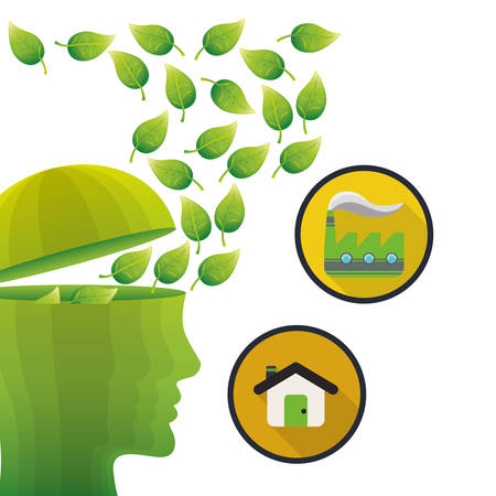 the greenhouse effect: head think green environment house factory vector illustration eps 10
