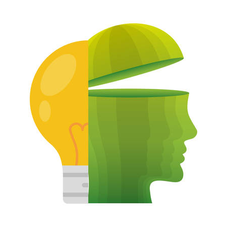 head think green bulb light energy vector illustration eps 10