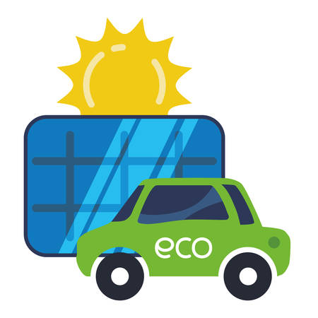 eco car electric solar panel vector illustration eps 10