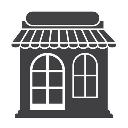 small business woman: grey and white shop storefront facade icon image vector illustration design Illustration