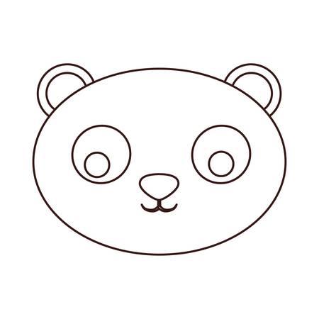 Kawaii bear face, animal icon over white background. Illustration
