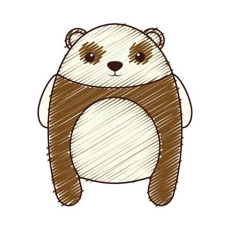 Kawaii bear animal icon over white background.