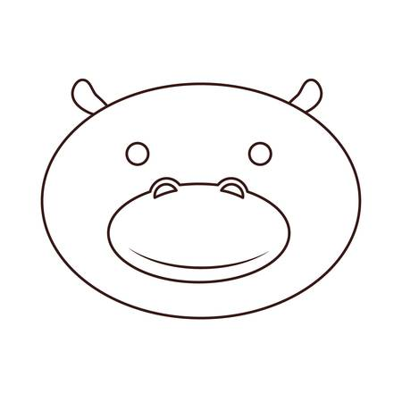 Kawaii hippopotamus face icon over white background.
