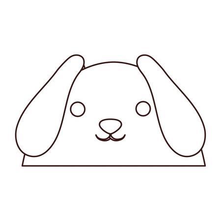 Kawaii dog face icon over white background. Illustration