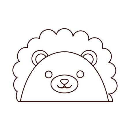 Kawaii lion face icon over white background.