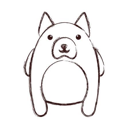 Kawaii dog animal icon over white background.
