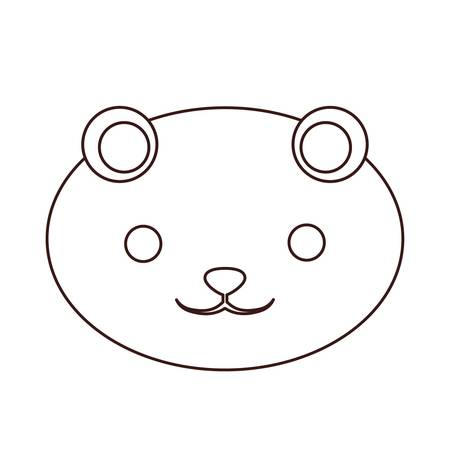 Kawaii bear face  icon over white background.