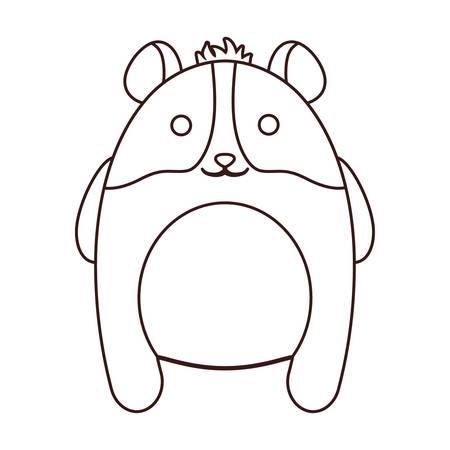 Kawaii mouse animal icon over white background.