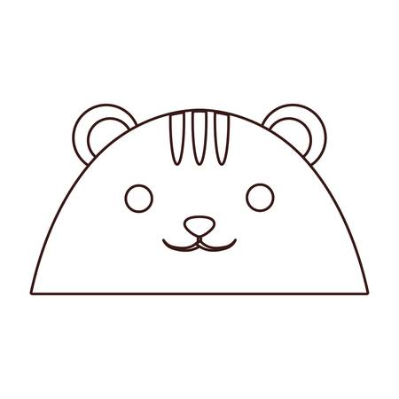Kawaii cat face icon over white background.