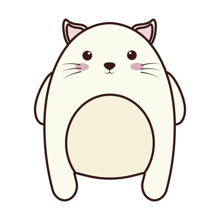 Kawaii cat animal icon over white background. colorful design.  vector illustration