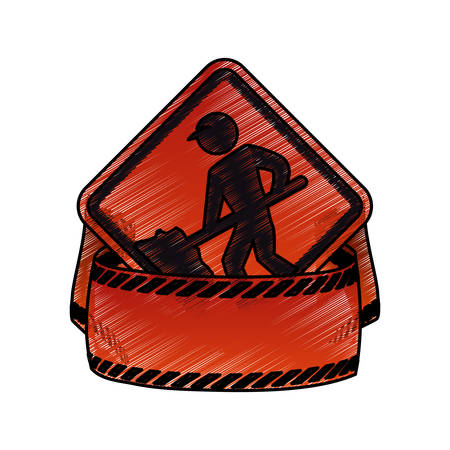 Under construction road sign icon vector illustration graphic design Illustration