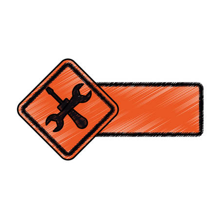Under construction road sign icon illustration graphic design. Illustration