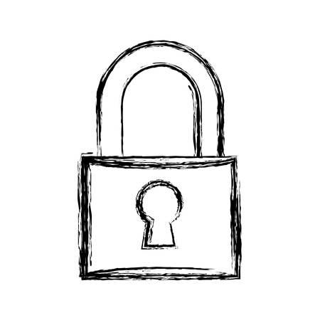 Padlock security device, line icon, vector illustration Illustration