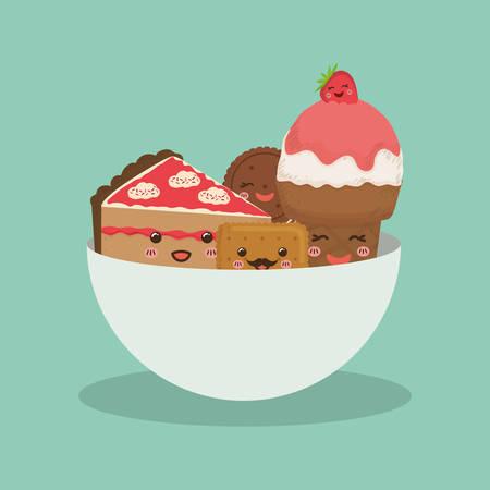 Sweet dessert cartoon icon vector illustration graphic design