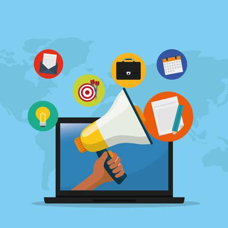 Digital advertising and marketing icon vector illustration graphic design