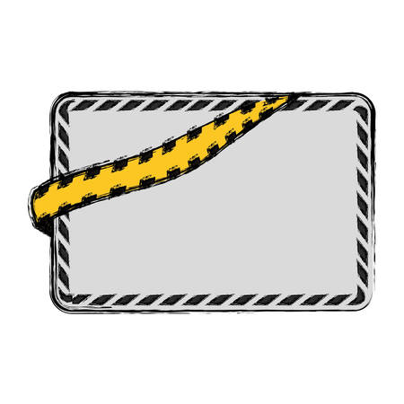 Police yellow tape icon vector illustration graphic design