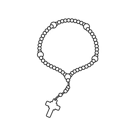 Rosary catholic faith icon vector illustration graphic design