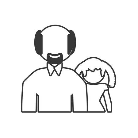grandfather and granddaughter lovely outline vector illustration eps 10