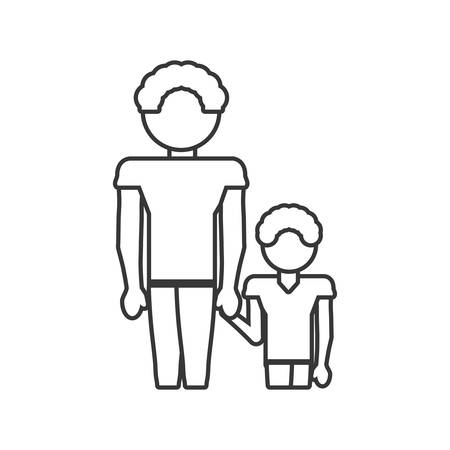 father and son relation family outline vector illustration eps 10