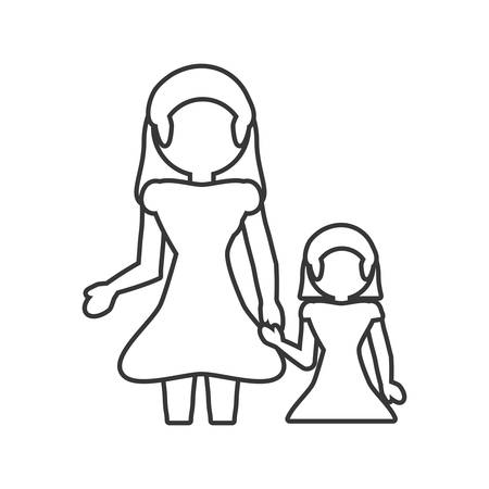 mother and baby: mother and daughter loving outline vector illustration eps 10