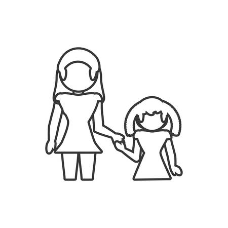 mother and daughter loving outline vector illustration eps 10