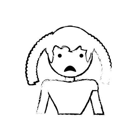 skecth girl daughter sad face vector illustration eps 10
