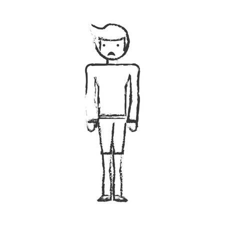 fully: skecth boy son sad face vector illustration eps 10 Illustration