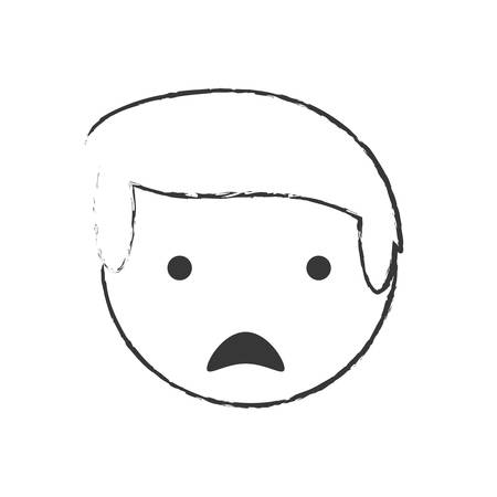 skecth boy son sad face vector illustration eps 10 Illustration