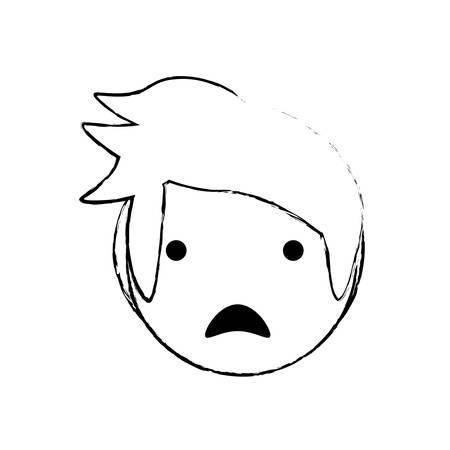 anger kid: skecth boy son sad face vector illustration eps 10 Illustration