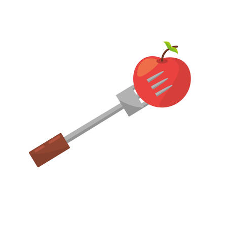 apple fork food picnic vector illustration eps 10