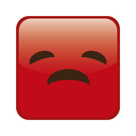 sad cartoon face in square shape, icon over white background. colorful design. vector illustration Illustration