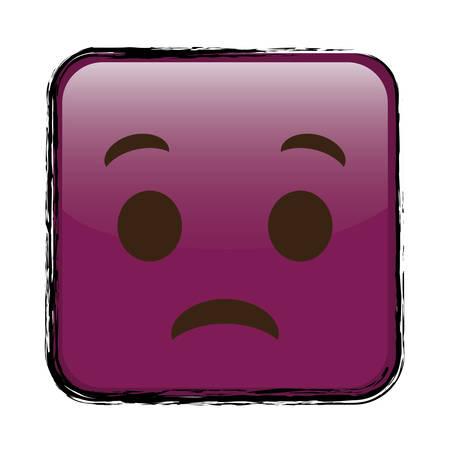悲しい漫画顔正方形、白い背景上のアイコン。カラフルなデザイン。ベクトル図  イラスト・ベクター素材