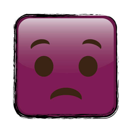 sad cartoon face in square shape, icon over white background. colorful design. vector illustration Ilustração