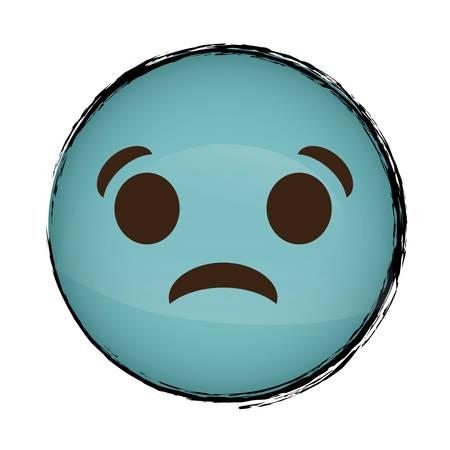 Sad cartoon face icon over white background. colorful design. vector illustration