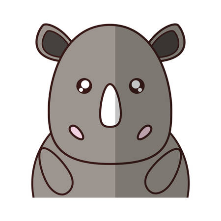 kawaii rhino animal icon over white background. vector illustration