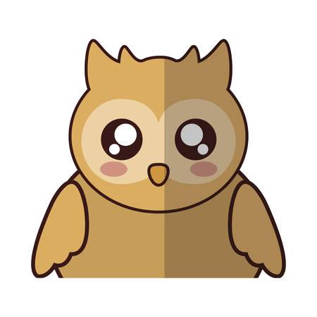 desing: kawaii owl animal icon over white background. colorful desing. vector illustration
