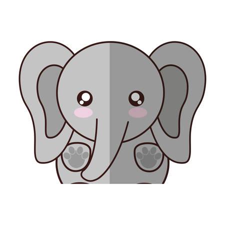 kawaii elephant animal icon over white background. colorful design. vector illustration Illustration