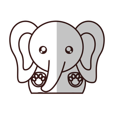 kawaii elephant animal icon over white background. vector illustration