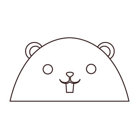 kawaii beaver face animal icon over white background. vector illustration