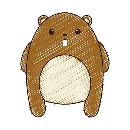 desing: A kawaii beaver animal icon over white background. colorful desing. vector illustration