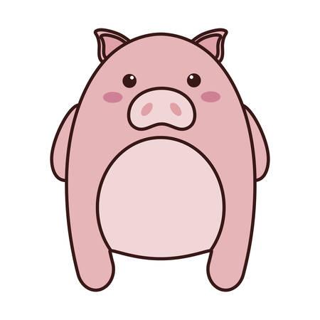 Pink kawaii pig animal icon over white background. colorful design. vector illustration