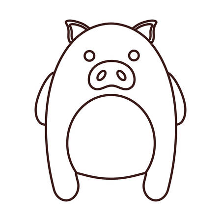 White kawaii pig animal icon over white background. vector illustration Illustration