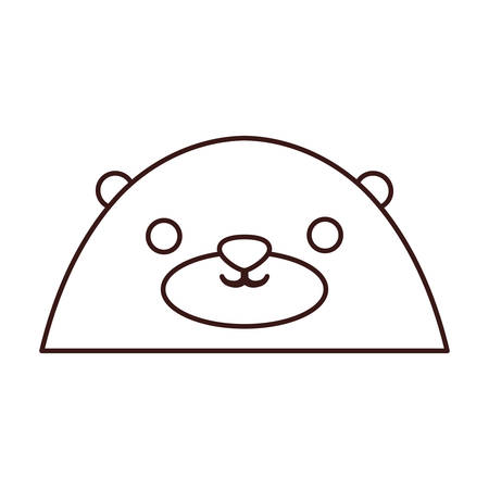 kawaii bear face icon over white background. vector illustration