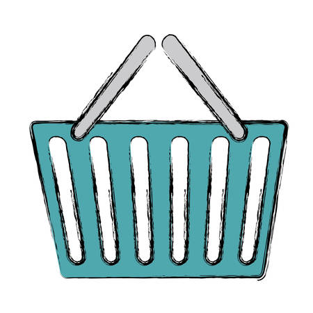 simple store: Shopping basket icon over white background. colorful design. vector illustration Illustration